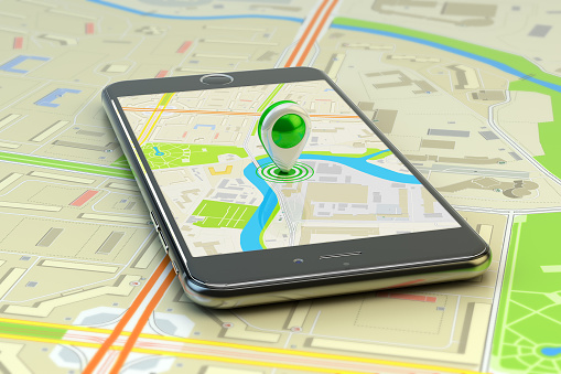 Mobile GPS navigation, destination, location and positioning