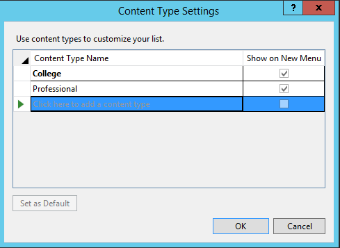 Create Lists with SharePoint Using Visual Studio 2015: Next, we'll add the content types to the list. If we didn't need content types, we could directly type the columns into the list, but for our scenario, we'll click on the Content Type button towards the bottom of the list. This will open the Content Type Settings. Here we'll type in the content type names, and again, Visual Studio will begin populating available content types from which to choose.
