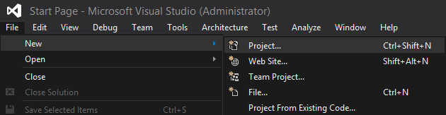 Create Lists with SharePoint Using Visual Studio 2015: With Visual Studio open, let's now create a SharePoint Project by going through the File -> New -> Project menu.