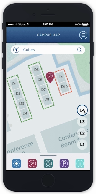 Imaginet Campus Wayfinding Mobile App Solution - Find a Cube