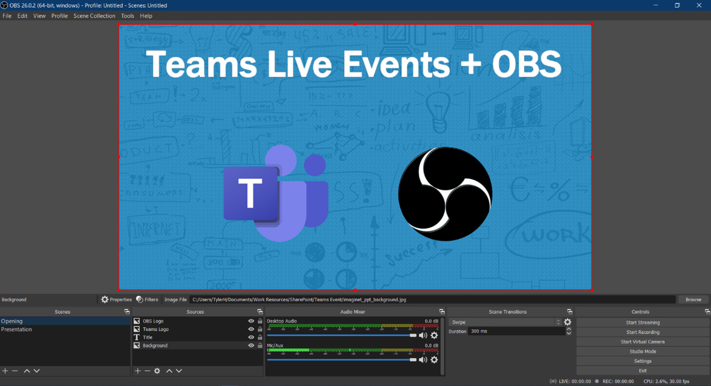 Use OBS Studio to take your Microsoft Teams Live Event to the next level with customizations like scenes.