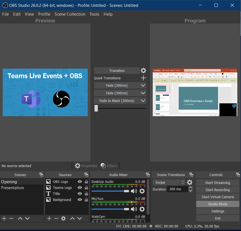 Use OBS Studio to take your Microsoft Teams Live Event to the next level with Studio Mode and easily queue the next presenter and scenes for a better experience.